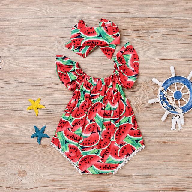 2PCS  Newborn Baby Girl Watermelon Summer  Cute Bodysuit Jumpsuit Outfit 1
