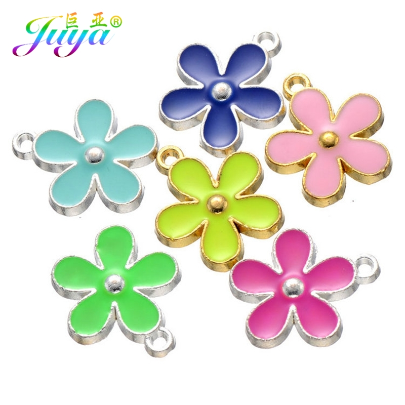 Juya DIY Craft Jewelry Findings Gold/Silver Enamel Flower