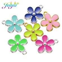 DIY Craft Jewelry Findings Gold/Silver Enamel Flower Charm Pendants Accessories For Women Kids Earrings Bracelet Necklace Making(China)
