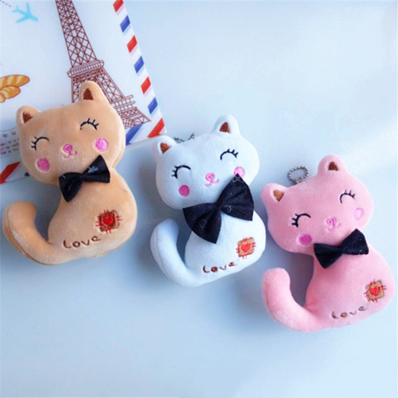 3Colors Little Size 12cm NEW Cat Plush Toy Animal Stuffed Kitty Cat Key Chain TOY Kid's Party Plush TOY Bouquet Plush Dolls