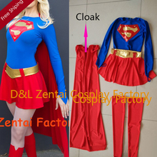 Free Shipping DHL Wholesale Adult Superhero Costume Classical Supergirl Halloween Costume Lycra Spandex Bodysuit Women Costume