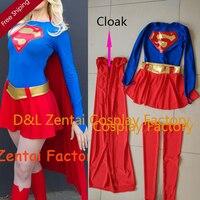 Free Shipping DHL Wholesale Adult Superhero Costume Classical Supergirl Halloween Costume Lycra Spandex Bodysuit Women Costume