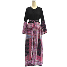 Womens Long Robe Dress Black Print Long Sleeve Loose Clothing Plus Size 5XL With Belt