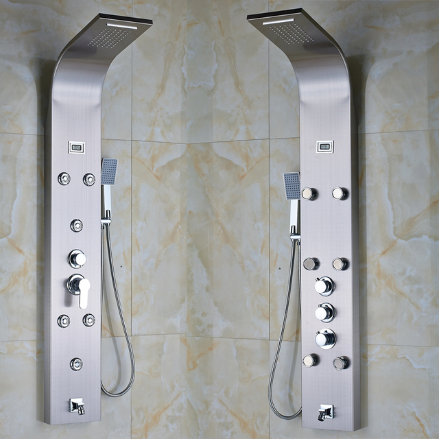 2016 New Arrival Shower Panel Digital Temperature Display Brushed Nickel Faucet Two Types