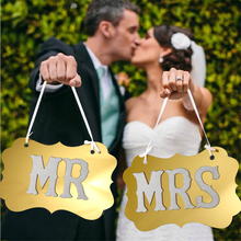 1set Mr & Mrs Wedding Gold Glitter Props decoration,Party Decoration,Party Photo Supplies Happy Birthday