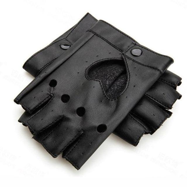 Fashion Women Punk Leather Driving Biker Fingerless Mittens Dance Motorcycle Gloves Sports Fitness Gloves 3