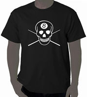 Art T Shirt 8 Ball Skull Pool Billiards 100 Cotton Brand New T Shirts High Quality