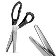 23,5 см зигзаг ножницы длинной ручкой Профессиональный нержавеющая сталь пошив швейные ножницы для рукоделия Zig Zag Ткань Декоративные кромки инструмента