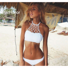 StarHonor  Woman Retro Halter Weaving Two-Piece Suits Swimwear High Neck Swimsuit Bandage Bra Bikinis Set Push Up Bathing Suit