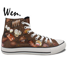 Wen Original Hand Painted Canvas Shoes Chocolate Men Women's High Top Canvas Sneakers Birthday Presents Valentine's Gift