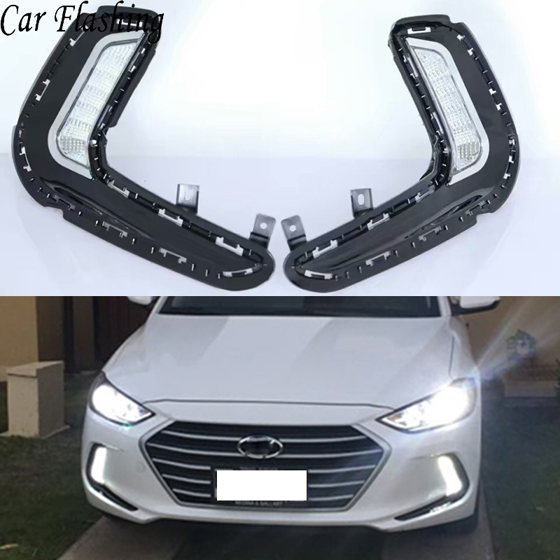 Car Flashing 1 Pair Led Daytime Running Lights for Hyundai Elantra 2016 2017 2018 Fog lamp