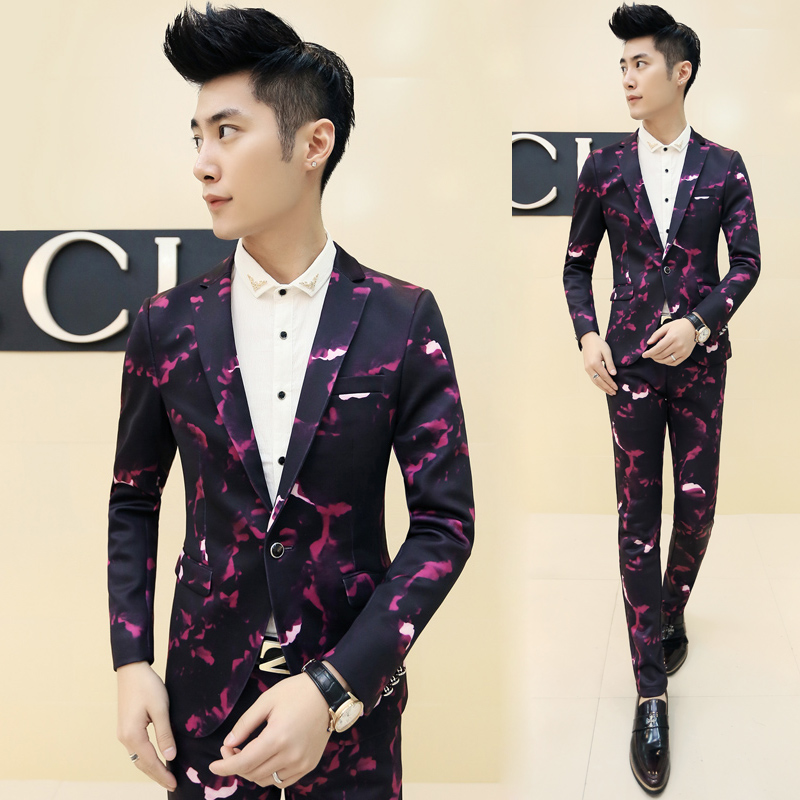 Korean  Floral Print Men Slim Fit DJ Casual Coat Jacket Vest Pant Suits Wedding