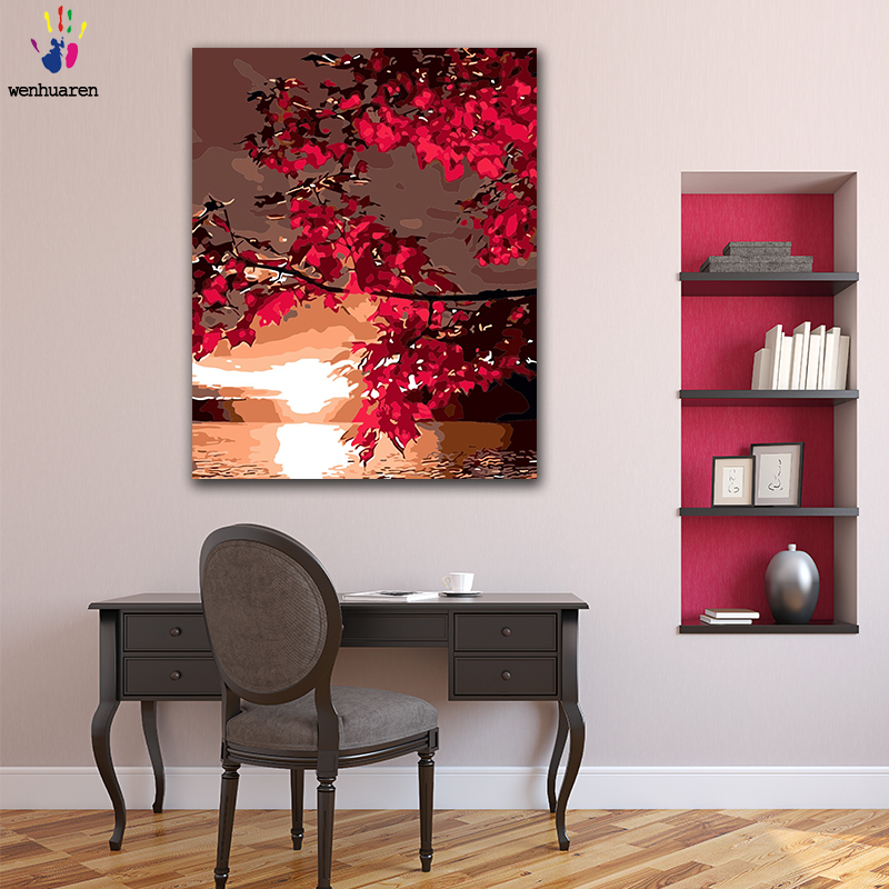 DIY Coloring paint by numbers Red maple tree in the sunset figure paintings by numbers with kits 40x50 framedDIY Coloring paint by numbers Red maple tree in the sunset figure paintings by numbers with kits 40x50 framed