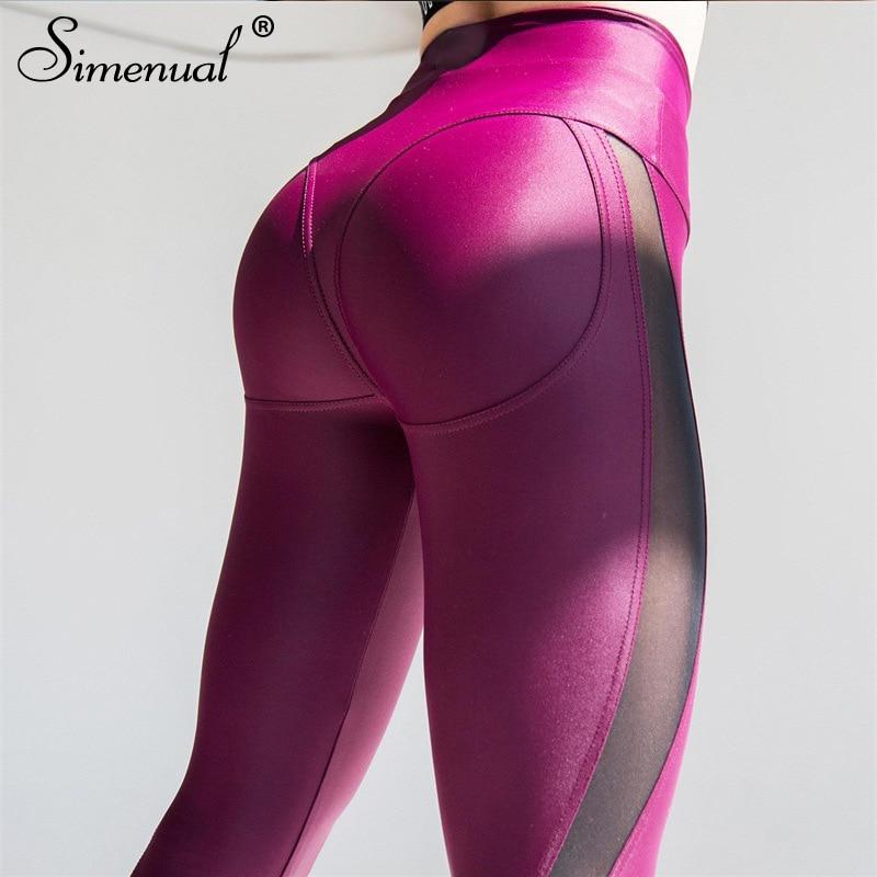 Simenual Push Up Leggings For Fitness Women Clothing Patchwork Mesh Legging Femme Sportswear Athleisure Bodybuilding Jeggings