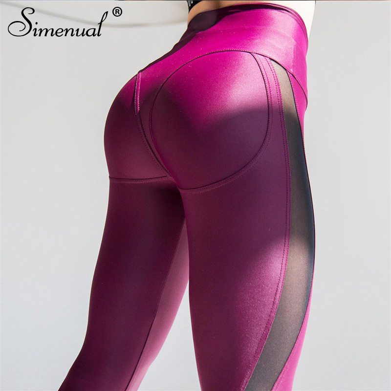 Simenual Push up leggings for fitness women clothing patchwork mesh legging femme sportswear athleisure bodybuilding jeggings