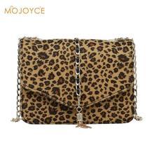 hot deal buy stylish leopard print crossbody bag for women 2018 ladies tassels mini chain messenger bag pu leather bolsa leopard luipaard tas