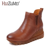 HUIZUMEI 2017 autumn and winter new leather boots original hand round slope with casual waterproof high heeled shoes woman