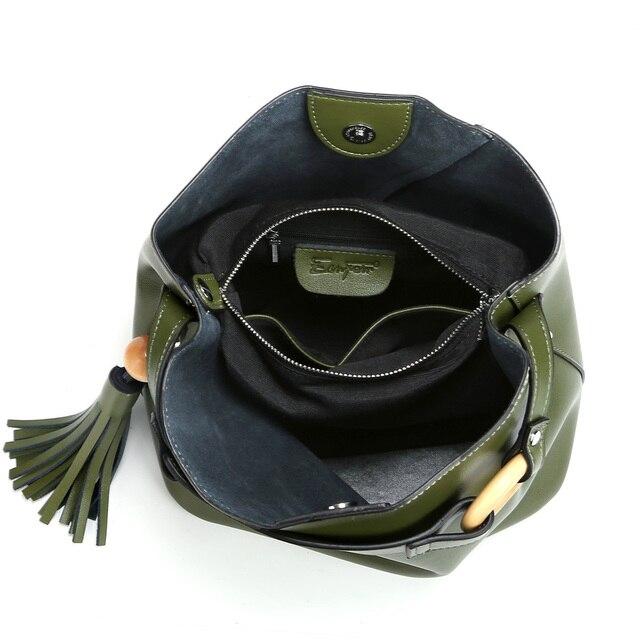 2017 ESUFEIR Brand Fashion Design 100% Genuine Leather Women Handbag Solid Tassel Bucket Bag Female Tote Bag Crossbody Bag
