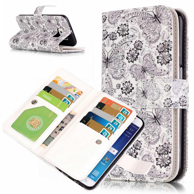 S6 Kasus Telepon 9 Kartu Pemegang Dompet Kasus Untuk Samsung Galaxy Luxury PU Kulit Balik Kasus untuk Samsung S6 S6 SM-G920F Coque Etui