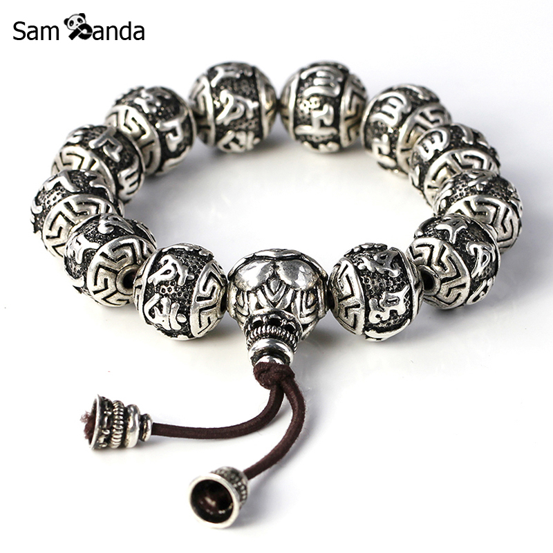 Charm Fine Retro Tibetan Buddhism Thai Silver rope Bracelet Men Six Words