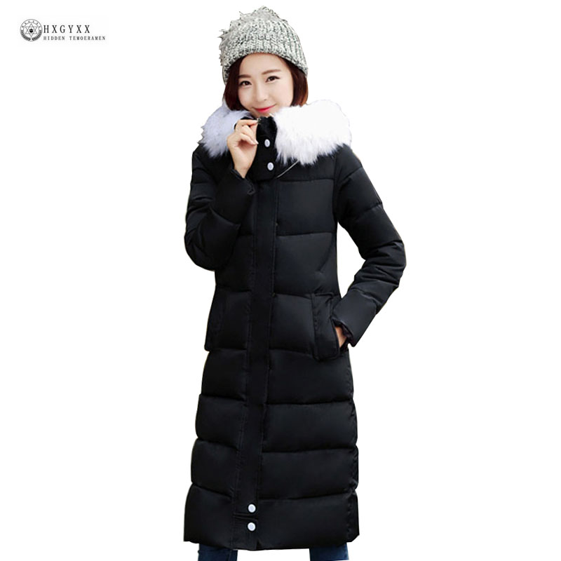 Women Winter Coat 2017 New X-Long Jacket 6 Color Hooded Fur Collar Cotton Outerwear Thick Warm Slim Fashion Female Parka OK984