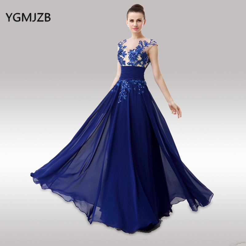Royal Blue Evening Dresses Long 2018 See Through Backless Lace Cap Sleeve Floor Length Formal Evening Party Gown Plus Size