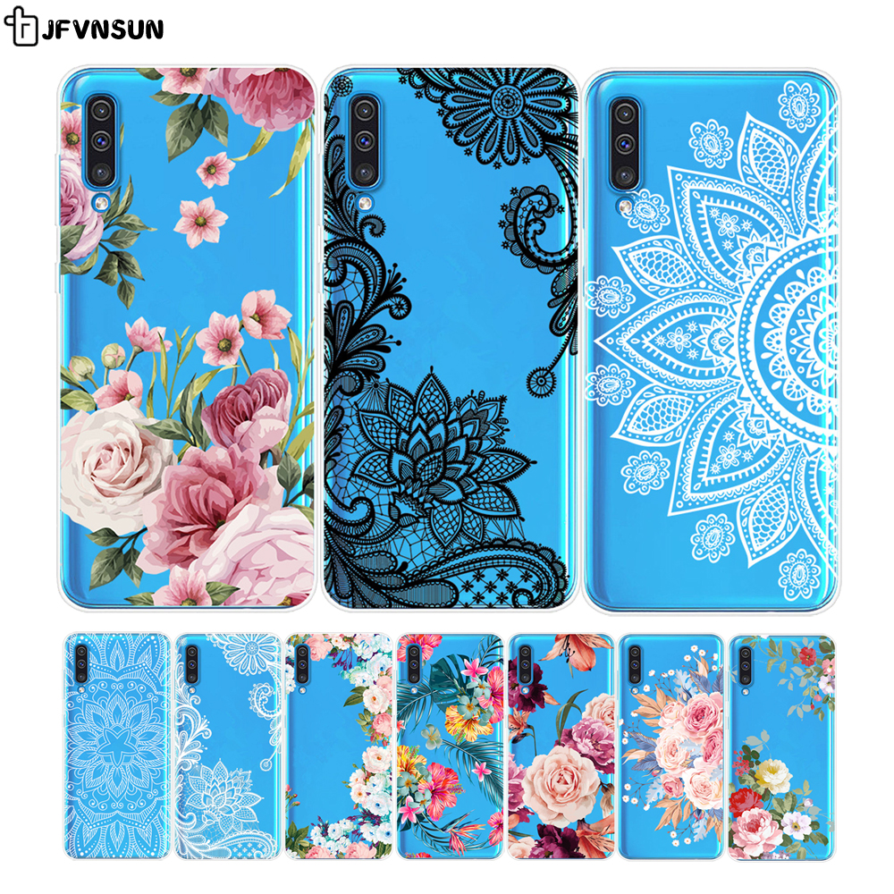For Samsung A50 SM-A505FD Case 6.4 inch Luxury 3D Relief Flower Pattern Clear TPU Case on For SAMSUNG Galaxy A50 A 50 A505 Cover