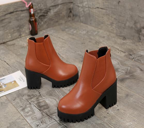 Nueva Zapatos Plataforma Tacón Marrón De Mujer Estilo Otoño 2018 Americano  Y Para Alto Europeo Impermeable ... c3cec887470c