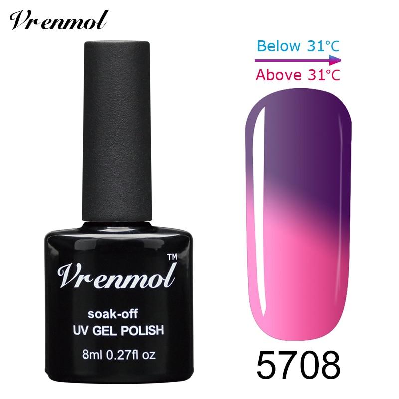 Vrenmol, 1 шт., меняющий цвет, замачиваемый УФ-гель, цвета, лак Verniz, Термальный, меняющий настроение, Гель-лак для ногтей - Цвет: 5708