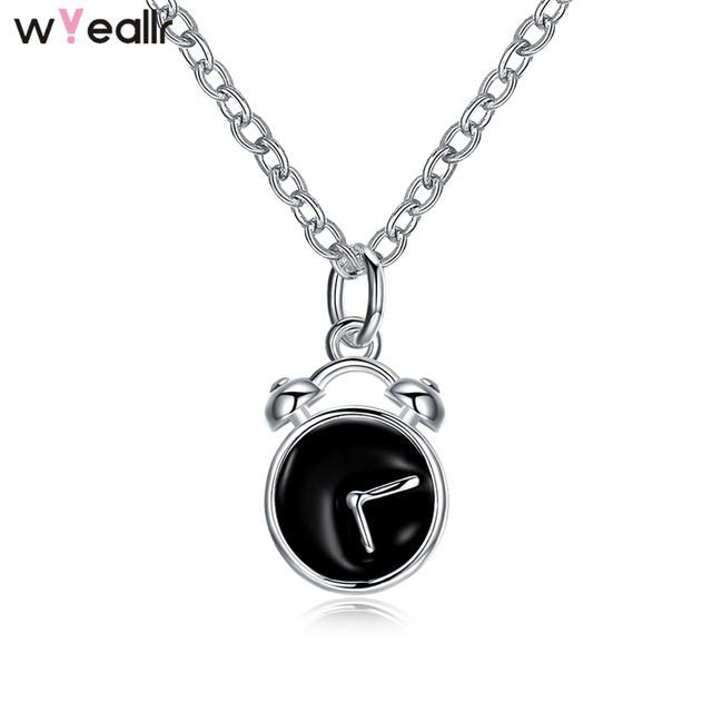 2018 fashion jewelry 925 sterling silver black alarm clock charm 2018 fashion jewelry 925 sterling silver black alarm clock charm pendant necklace for women gift wsn70 aloadofball Images