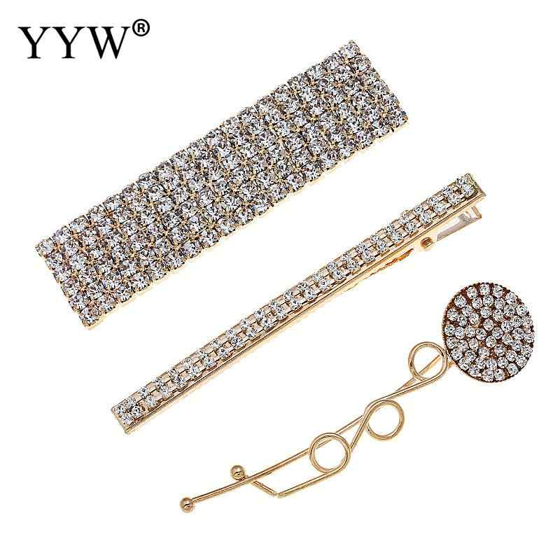 Fashion Elegant Korea Shiny Crystal Rhinestones Hairpins Barrettes Long Hair Clips Slide Clip Hair Accessories