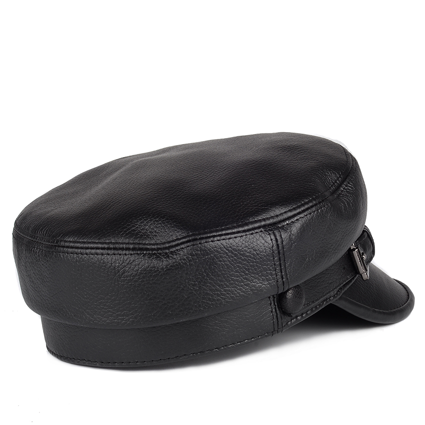 Unisex South Korean Style Genuine Leather Fitted Flat Hat For Man Woman Personality Locomotive Punk Black Baseball Caps