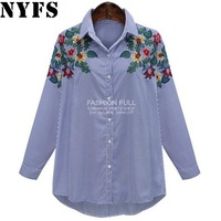 NYFS 2017 Europe Women Blouses Long Shirts Single Breasted Stripe Embroidered Temperament Shirt Women Large Size
