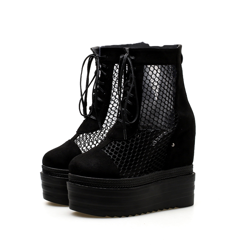 Black Wedge Shoes Women Fashion Lace Up Ankle Boots Punk style 12.5cm high Heel Mesh Boots Hollow Out Ladies Platform Boots asumer 2017 new high heels wedge boots lace up sexy cut out mesh platform boots women elegant thick sole summer ankle boots