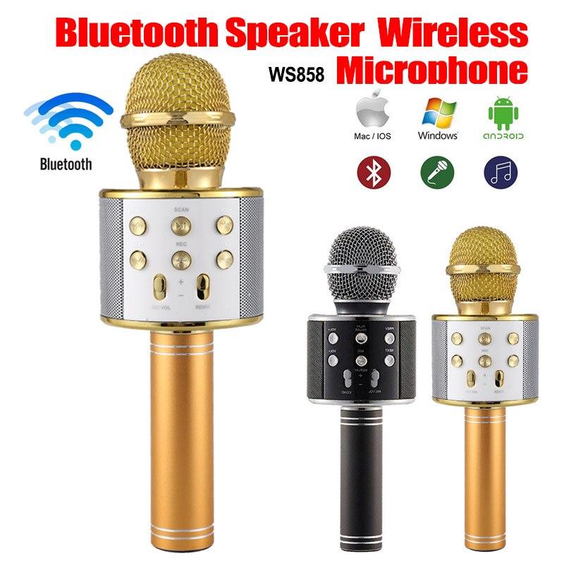 Portable WS858 Wireless Karaoke Microphone Bluetooth Radio Speaker Record KTV Music Player Singing Microphone