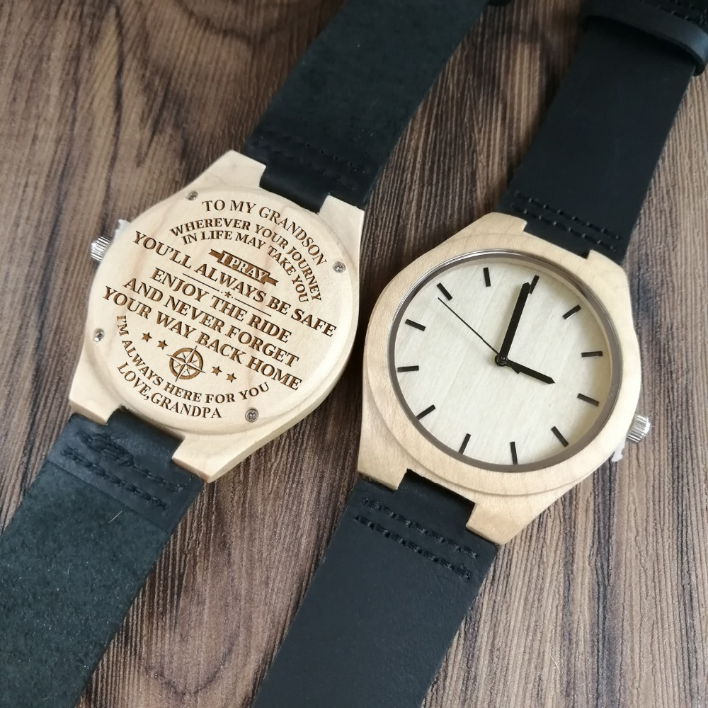 To My Grandson Engraved Wooden Watch Japan Automatic Quartz Watches Wrist Watch Maple Belt Men's Watch Birthday Anniversar Gif