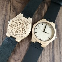 To My Grandson Engraved Wooden Watch Japan Automatic Quartz Watches Wrist Watch Maple Belt Men's Watch Birthday Anniversar Gift
