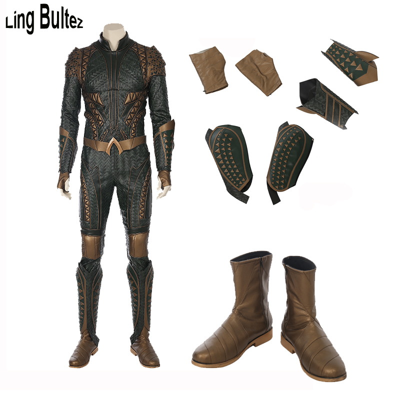 Ling Bultez High Quality New Aquaman Costume 2018 Movie Aquaman Cosplay Costume Aquaman Suit In Leather Custom Made