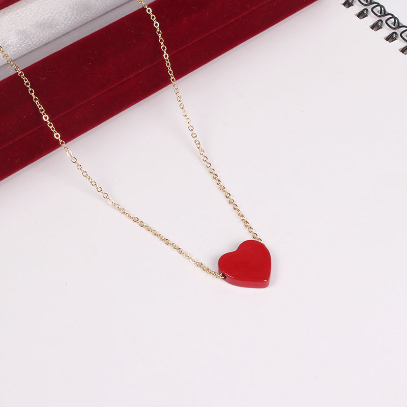 Japanese Style Enamel Red Hearts Love Texture Pendant Necklace Gold Color Chain Collarbone Necklace For Women Girls(China)