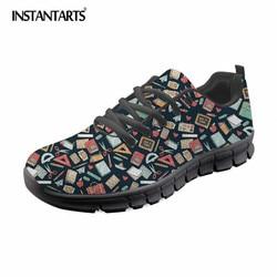 INSTANTARTS Damen Schuhe Wohnungen Nette Cartoon Lehrer 3D Muster Beiläufige Frauen Sneakers Frau Licht Gewicht Freizeit Schuhe für Mädchen