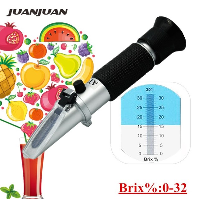Hand held brix Refractometer tester meter with  ATC +calibration oil Sugar: 0-32% tools for Fruit Vegetables Juice 44% off