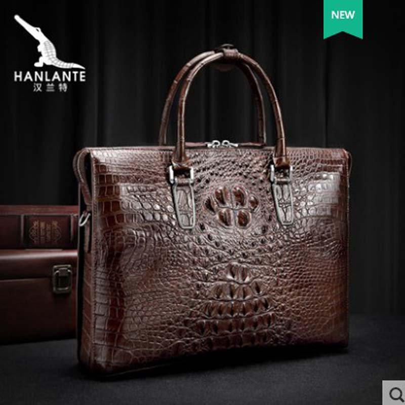 Hanlante Crocodile Leather Men's Bag Genuine Leather Hand Bill Of Lading Shoulder Bag Business Large Capacity Briefcase Men's