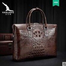 hanlante Crocodile leather mens bag genuine hand bill of lading shoulder business large capacity briefcase