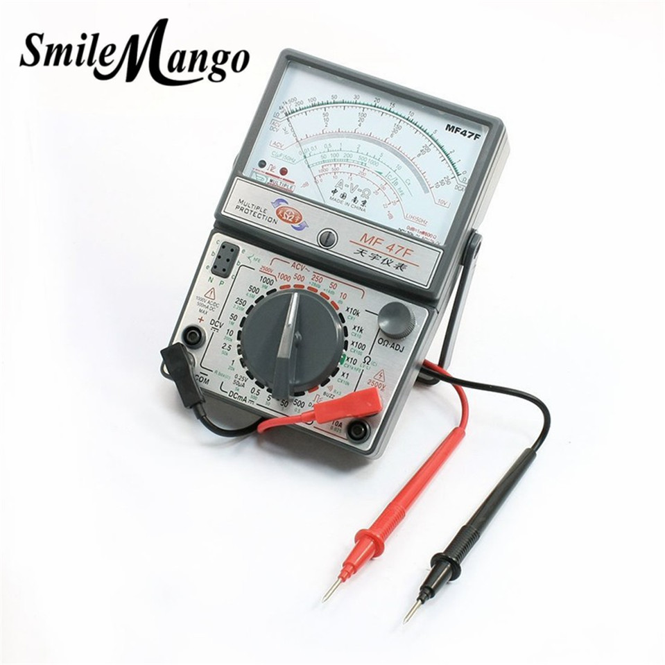 MF47F AC DC Voltmeter Ammeter Ohmmeter analogue multimeter ampere volt ohm meter mastech my65 digital multimeter dmm ac dc voltmeter ammeter ohmmeter w capacitance frequency