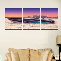 Modern Painting Modular Picture Cuadros Decoration 3 Panel Sunset Yacht Ship Boat Seascape Canvas Art Wall