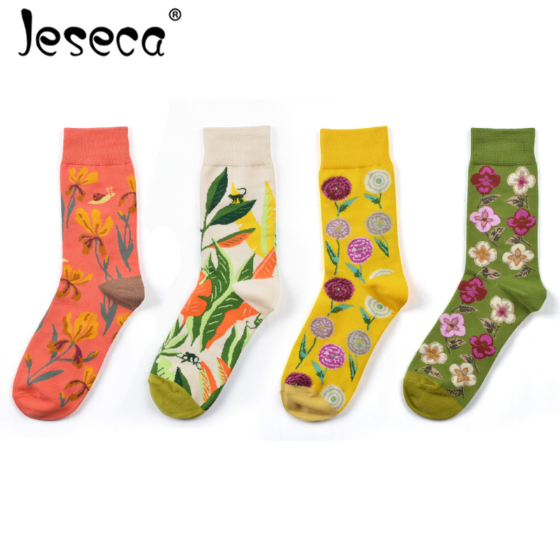 Streetwear Tide Brand Casual Cotton   Socks   Women Dandelion Flowers Green Leaves Print Female   Socks   Autumn Winter Funny   Socks