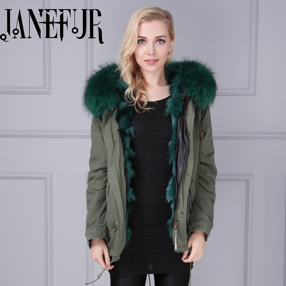 Italy Brand style Mr dark green fox fur lining parka raccoon fur collar hood winter women real fur jacket coats куртка turbokolor ewald plus jacket fw13 dark green l