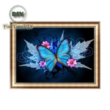 FineTime Diy diamond painting flower Mosaic full embroidery gift making tools pattern blue butterfly