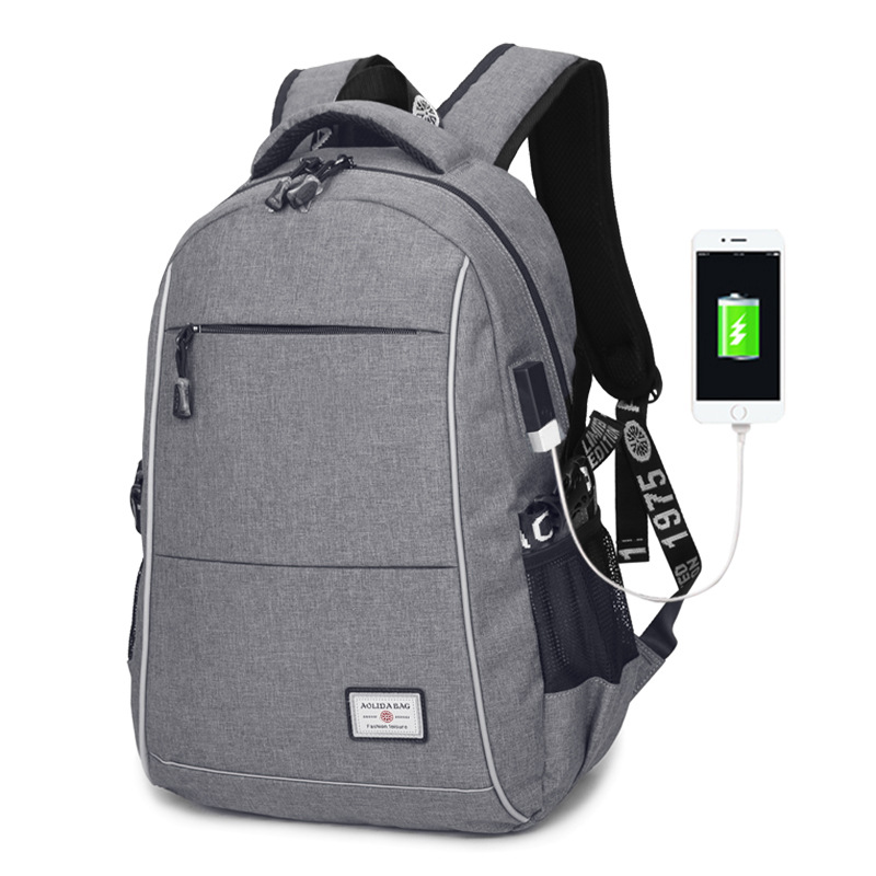 AOLIDA 2017 Casual USB Backpacks Men Canvas Bolsa Mochila Travel Large Capacity Rucksacks Men School Bags For Teenagers Laptop hot casual travel men s backpacks cute pet dog printing backpack for men large capacity laptop canvas rucksack mochila escolar