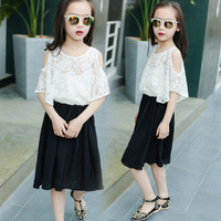 Summer New Product Girl Child Lace Bat Shirt Chiffon Princess Suit Two Pieces Kids CLothing Sets